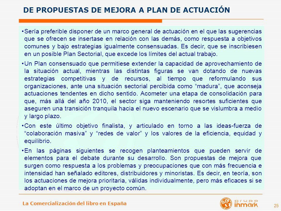 La Comercialización del libro en España 25 Sería preferible disponer de un marco general de actuación en el que las sugerencias que se ofrecen se inse