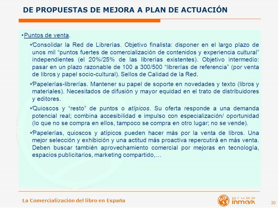 La Comercialización del libro en España 30 Puntos de venta. Consolidar la Red de Librerías. Objetivo finalista: disponer en el largo plazo de unos mil