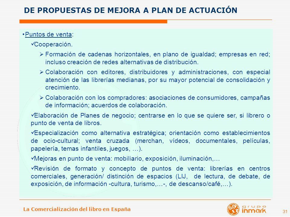 La Comercialización del libro en España 31 Puntos de venta: Cooperación. Formación de cadenas horizontales, en plano de igualdad; empresas en red; inc