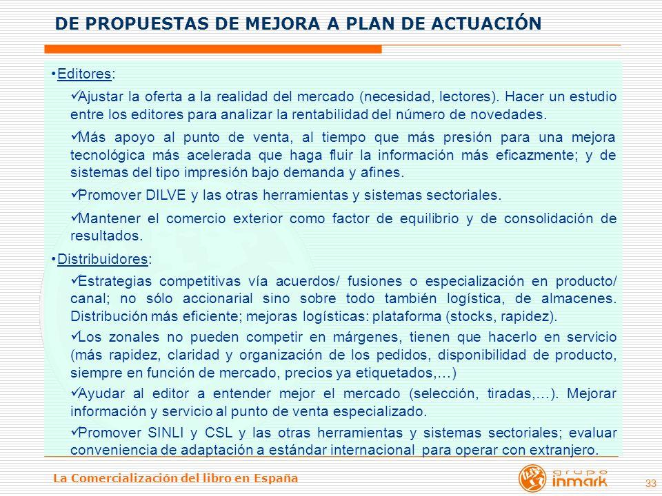 La Comercialización del libro en España 33 Editores: Ajustar la oferta a la realidad del mercado (necesidad, lectores). Hacer un estudio entre los edi
