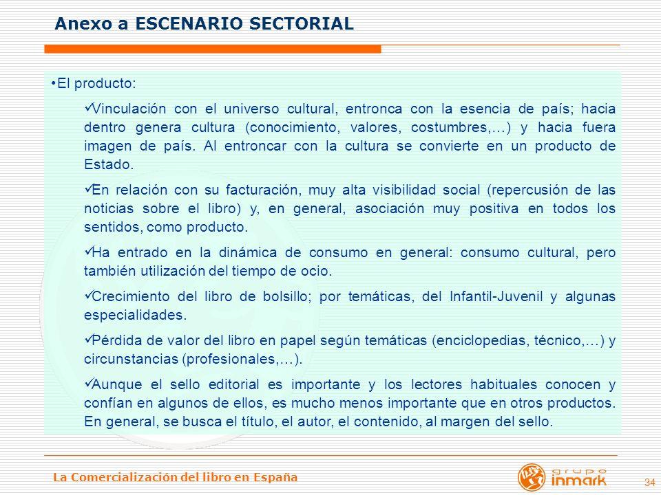 La Comercialización del libro en España 34 El producto: Vinculación con el universo cultural, entronca con la esencia de país; hacia dentro genera cul