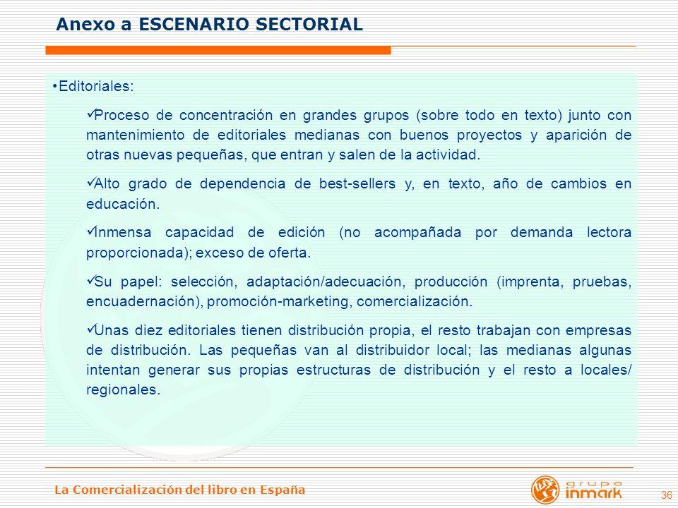 La Comercialización del libro en España 36 Editoriales: Proceso de concentración en grandes grupos (sobre todo en texto) junto con mantenimiento de ed