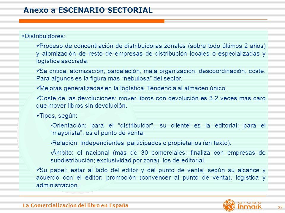 La Comercialización del libro en España 37 Distribuidores: Proceso de concentración de distribuidoras zonales (sobre todo últimos 2 años) y atomizació