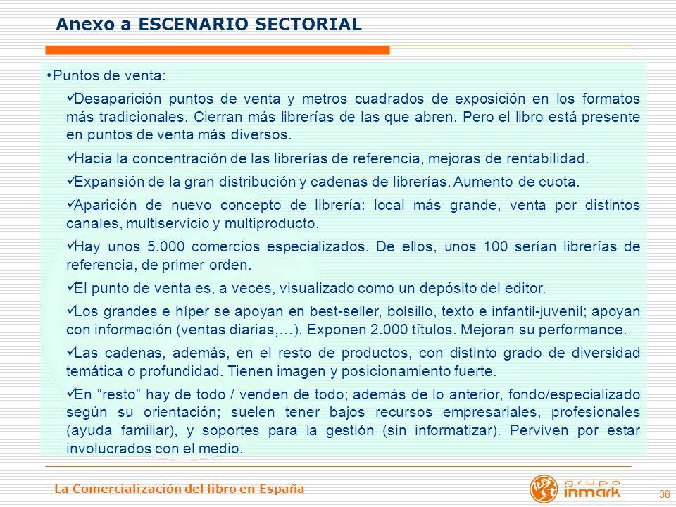 La Comercialización del libro en España 38 Puntos de venta: Desaparición puntos de venta y metros cuadrados de exposición en los formatos más tradicio