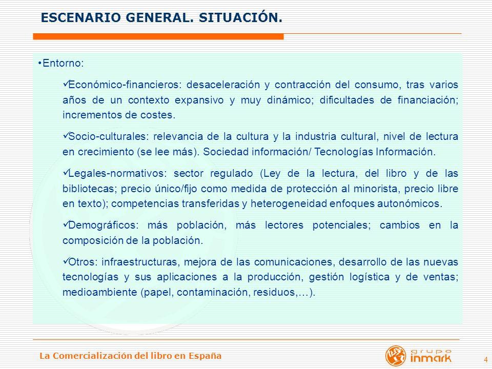 La Comercialización del libro en España 4 Entorno: Económico-financieros: desaceleración y contracción del consumo, tras varios años de un contexto ex