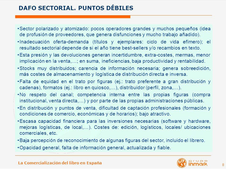 La Comercialización del libro en España 8 Sector polarizado y atomizado: pocos operadores grandes y muchos pequeños (idea de profusión de proveedores,
