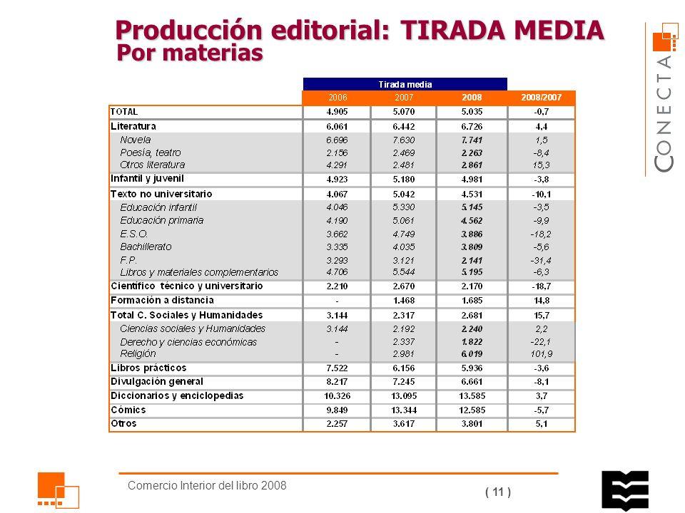 Comercio Interior del libro 2008 ( 10 ) Producción editorial: EJEMPLARES Por materias