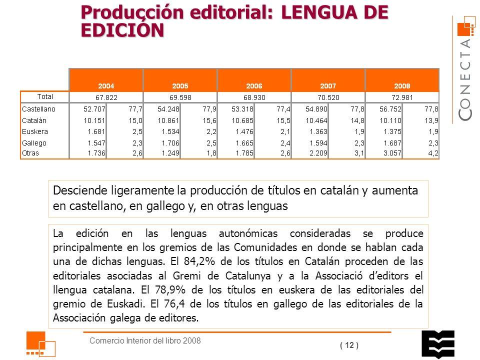 Comercio Interior del libro 2008 ( 11 ) Producción editorial: TIRADA MEDIA Por materias