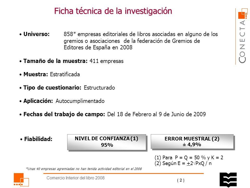 Comercio Interior del libro 2008 ( 1 ) Derechos de autor Producción Editorial Facturación Principales magnitudes Facturación por canales Libros de bolsillo Ficha técnica de la investigación