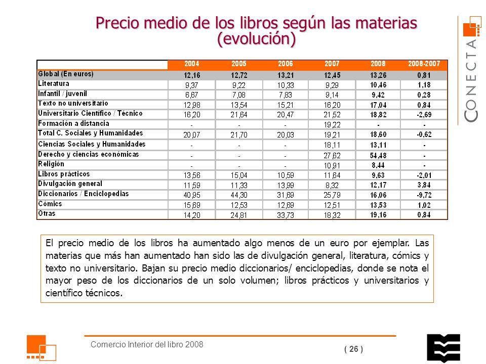Comercio Interior del libro 2008 ( 25 ) Precio medio de los libros.