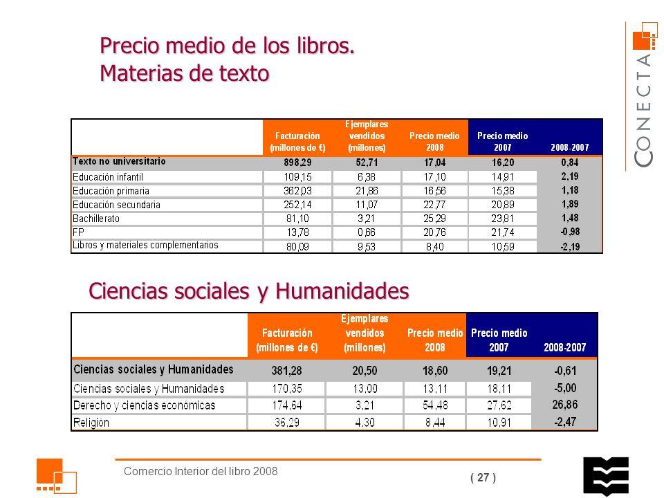 Comercio Interior del libro 2008 ( 26 ) Precio medio de los libros según las materias (evolución) El precio medio de los libros ha aumentado algo menos de un euro por ejemplar.