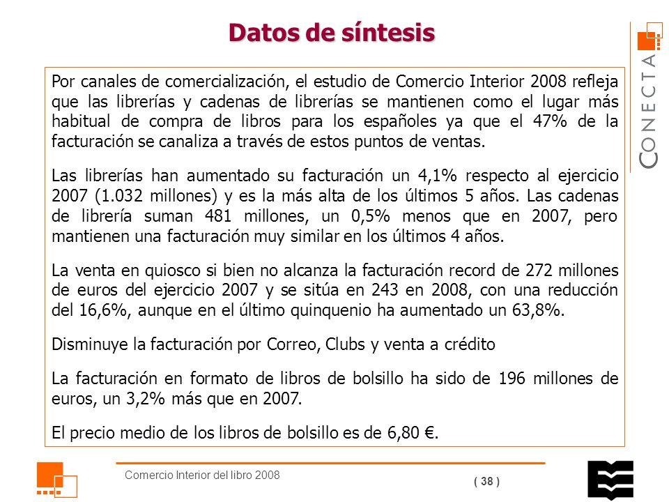 Comercio Interior del libro 2008 ( 37 ) Los títulos editados en 2008 (72.982) han aumentado en un 3,5% respecto al ejercicio anterior; los ejemplares (367,46 millones) han aumentado un 2,7% y la tirada media ha sido de 5.035 ejemplares por título, 35 ejemplares menos que en 2007.