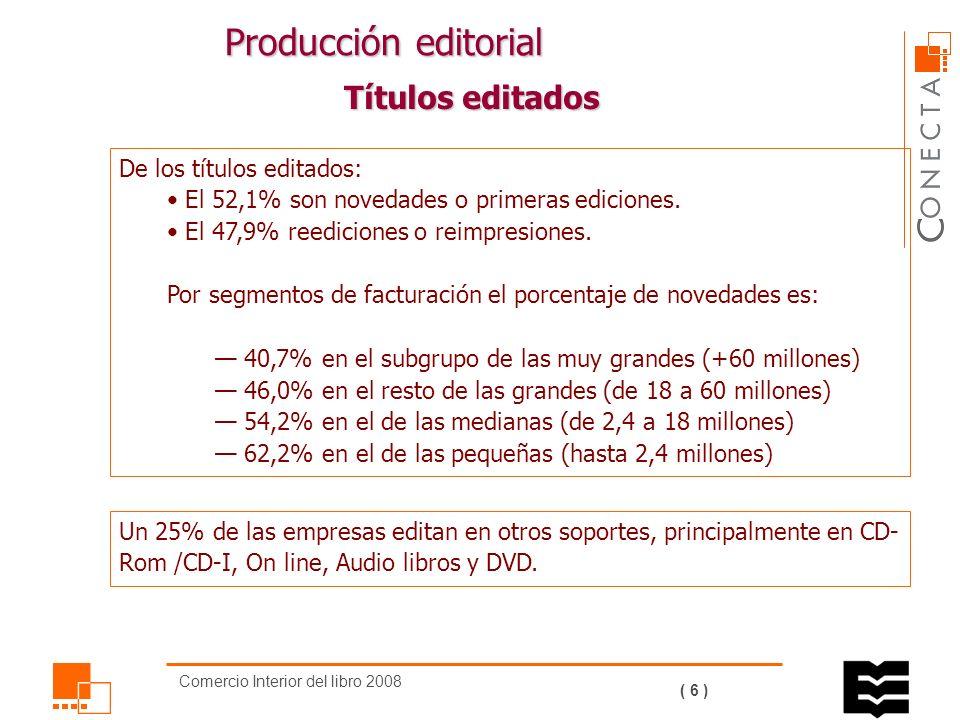 Comercio Interior del libro 2008 ( 5 ) Evolución principales magnitudes (2004-2008) En los últimos cinco años, la facturación ha aumentado un 10,5% y se ha incrementado el número de ejemplares vendidos en un 1,4%.