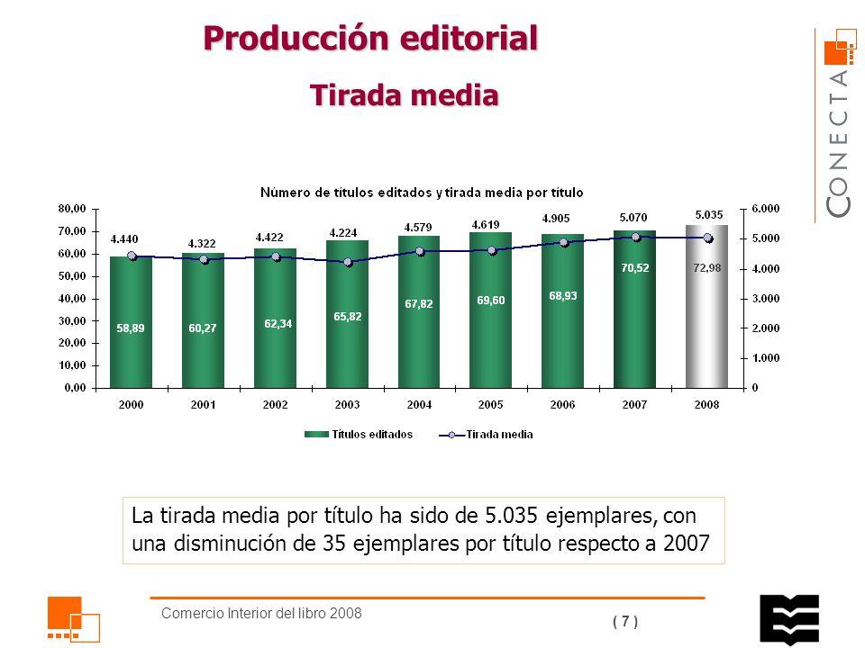 Comercio Interior del libro 2008 ( 6 ) De los títulos editados: El 52,1% son novedades o primeras ediciones.