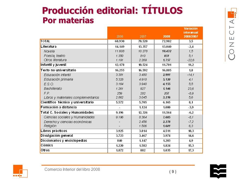 Comercio Interior del libro 2008 ( 8 ) Producción editorial Por materias