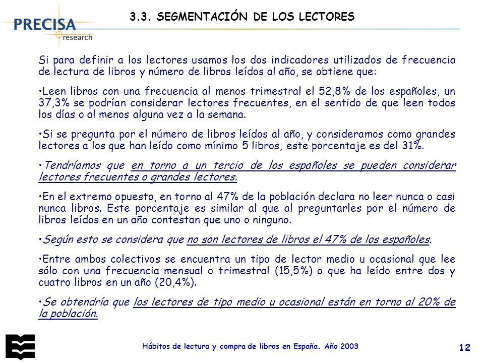 Hábitos de lectura y compra de libros en España. Año 2003 12 3.3. SEGMENTACIÓN DE LOS LECTORES Si para definir a los lectores usamos los dos indicador