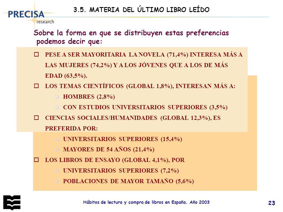 Hábitos de lectura y compra de libros en España. Año 2003 23 Sobre la forma en que se distribuyen estas preferencias podemos decir que: oPESE A SER MA