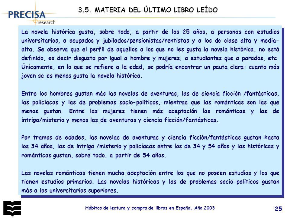 Hábitos de lectura y compra de libros en España. Año 2003 25 La novela histórica gusta, sobre todo, a partir de los 25 años, a personas con estudios u