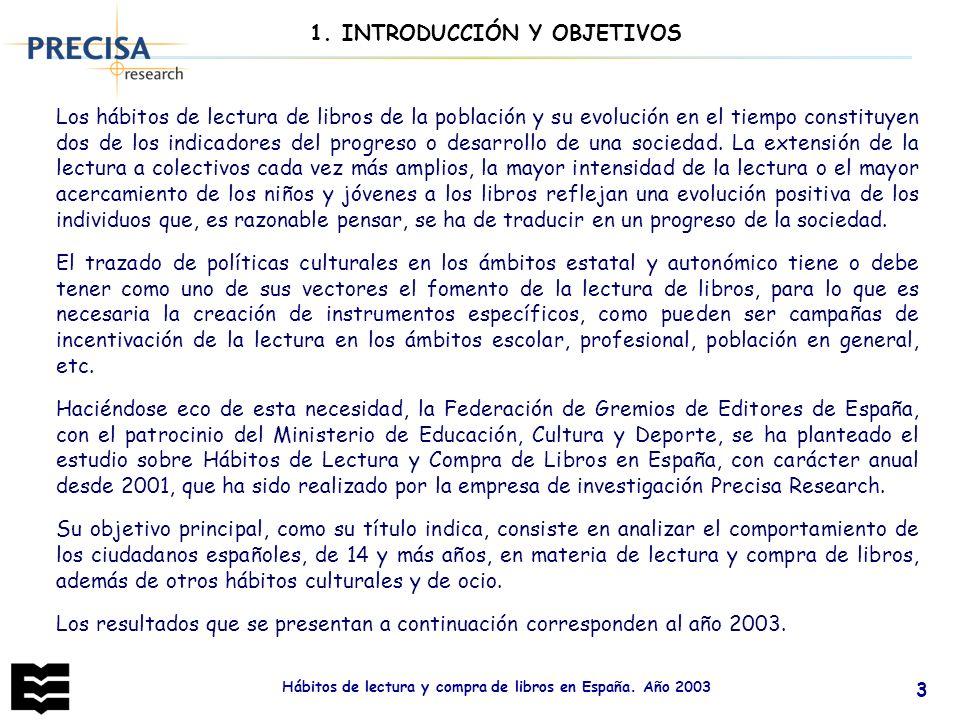 Hábitos de lectura y compra de libros en España. Año 2003 3 1. INTRODUCCIÓN Y OBJETIVOS Los hábitos de lectura de libros de la población y su evolució