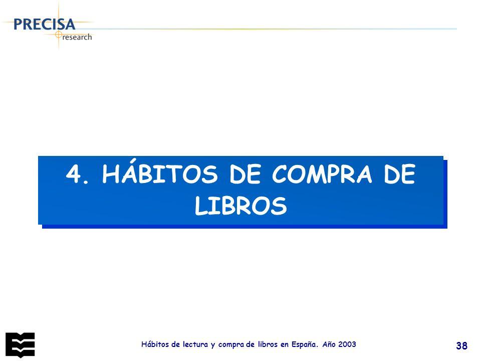 Hábitos de lectura y compra de libros en España. Año 2003 38 4. HÁBITOS DE COMPRA DE LIBROS