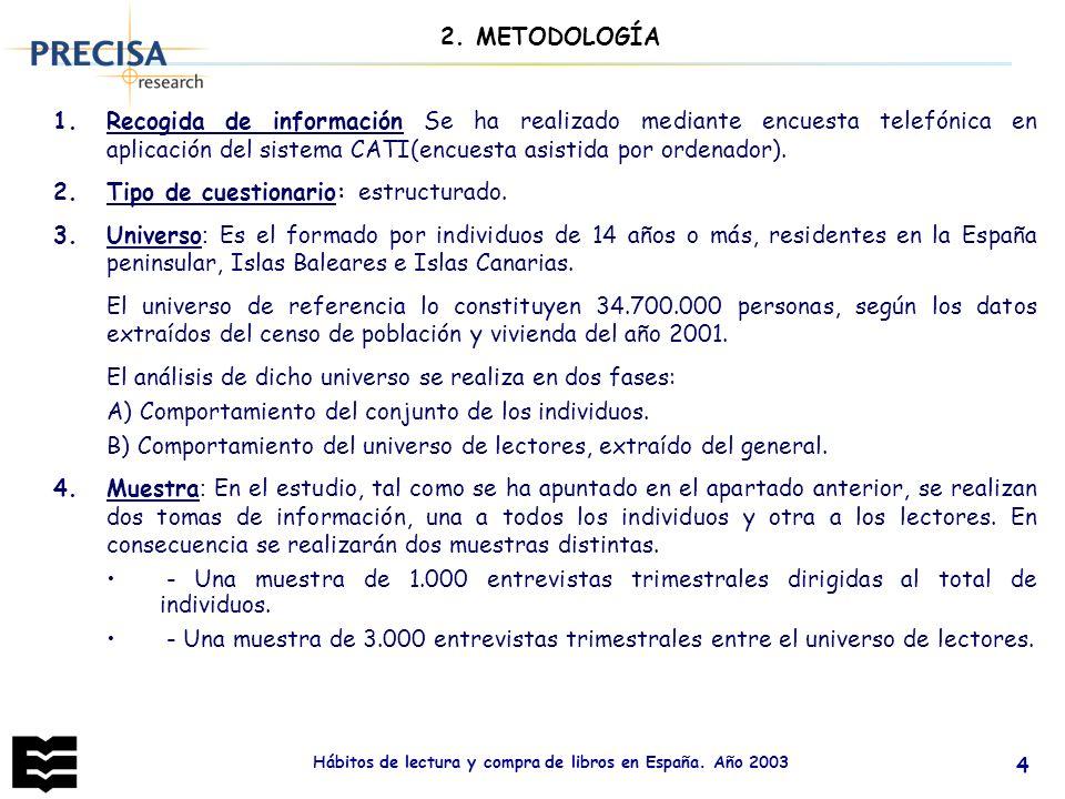 Hábitos de lectura y compra de libros en España. Año 2003 4 2. METODOLOGÍA 1.Recogida de información Se ha realizado mediante encuesta telefónica en a