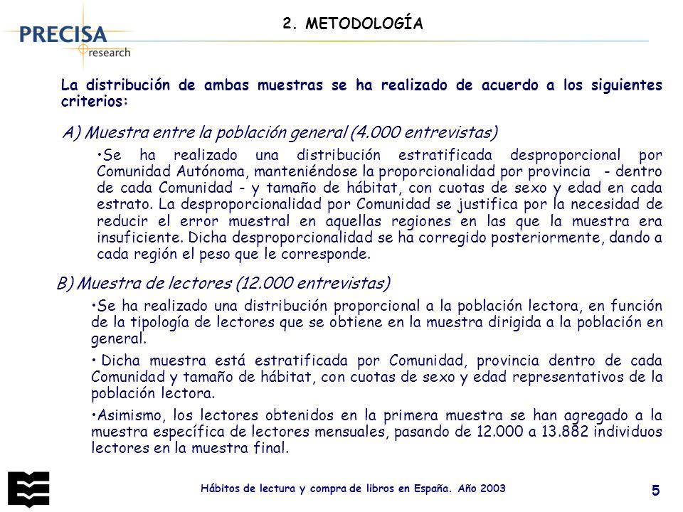 Hábitos de lectura y compra de libros en España. Año 2003 5 La distribución de ambas muestras se ha realizado de acuerdo a los siguientes criterios: A