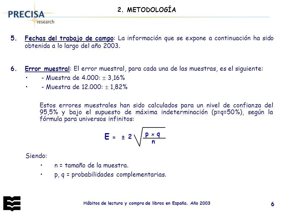 Hábitos de lectura y compra de libros en España. Año 2003 6 5.Fechas del trabajo de campo: La información que se expone a continuación ha sido obtenid