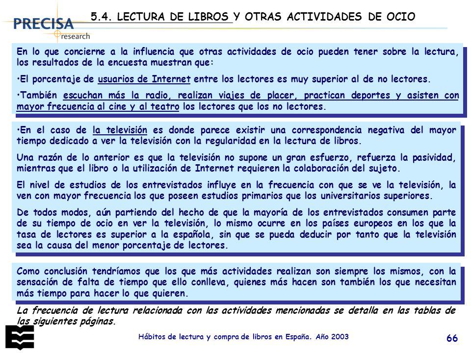 Hábitos de lectura y compra de libros en España. Año 2003 66 En lo que concierne a la influencia que otras actividades de ocio pueden tener sobre la l