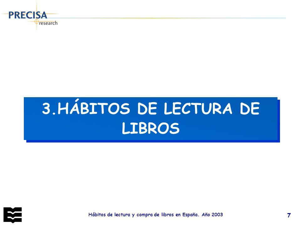 Hábitos de lectura y compra de libros en España. Año 2003 7 3.HÁBITOS DE LECTURA DE LIBROS