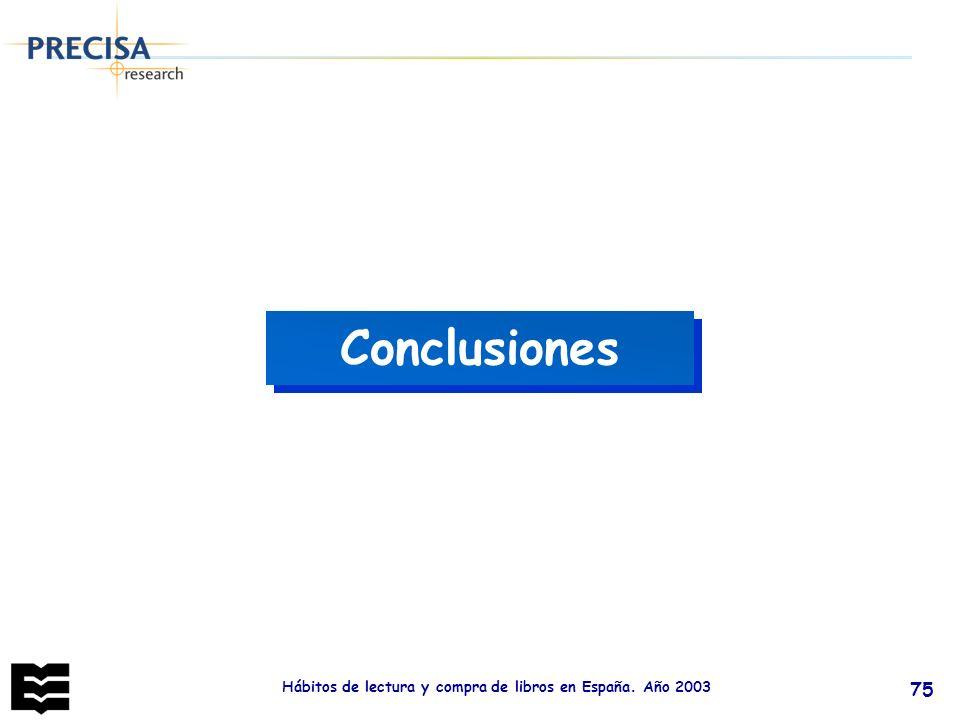 Hábitos de lectura y compra de libros en España. Año 2003 75 Conclusiones