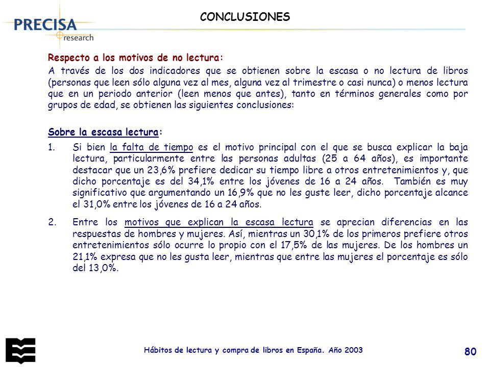 Hábitos de lectura y compra de libros en España. Año 2003 80 Respecto a los motivos de no lectura: A través de los dos indicadores que se obtienen sob