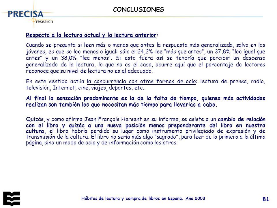 Hábitos de lectura y compra de libros en España. Año 2003 81 Quizás, y como afirma Jean François Hersent en su informe, se asiste a un cambio de relac