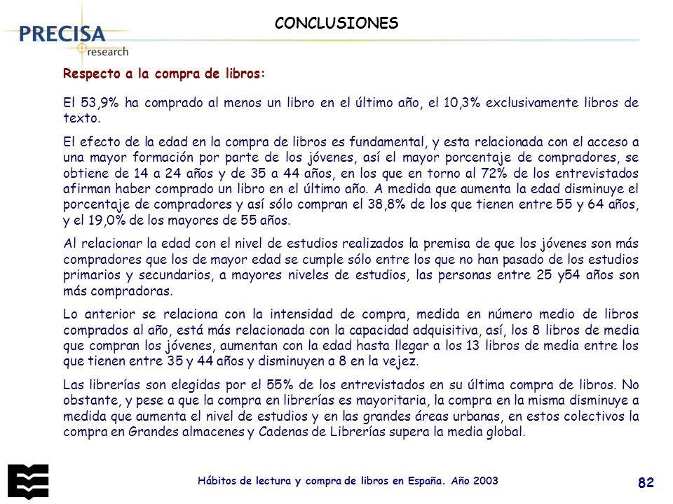 Hábitos de lectura y compra de libros en España. Año 2003 82 Respecto a la compra de libros: CONCLUSIONES El 53,9% ha comprado al menos un libro en el