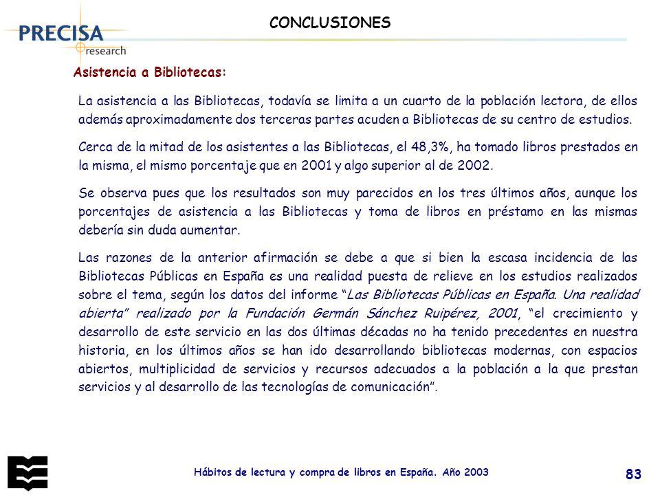 Hábitos de lectura y compra de libros en España. Año 2003 83 CONCLUSIONES Asistencia a Bibliotecas: La asistencia a las Bibliotecas, todavía se limita