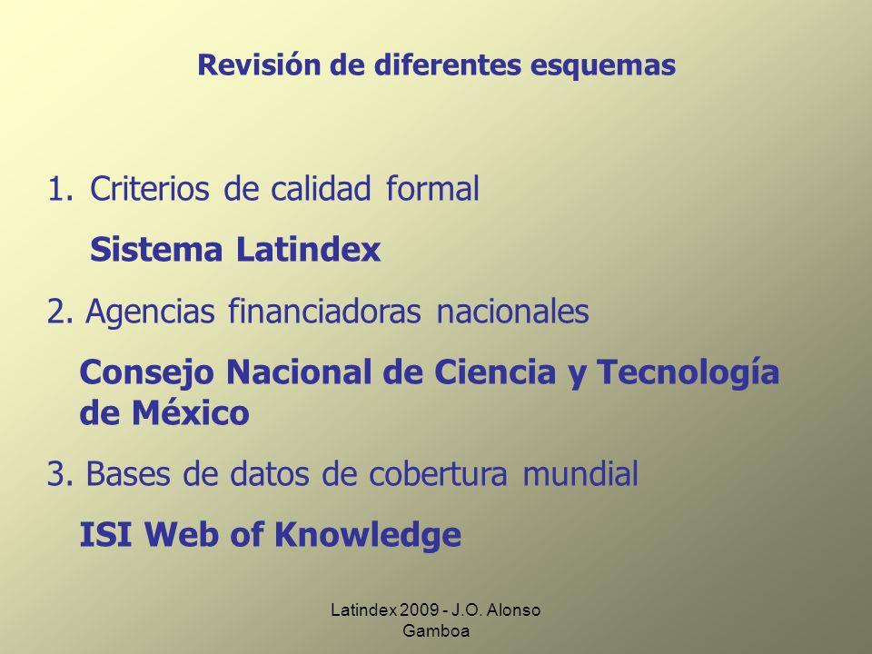 Latindex 2009 - J.O. Alonso Gamboa Revisión de diferentes esquemas 1. Criterios de calidad formal Sistema Latindex 2. Agencias financiadoras nacionale