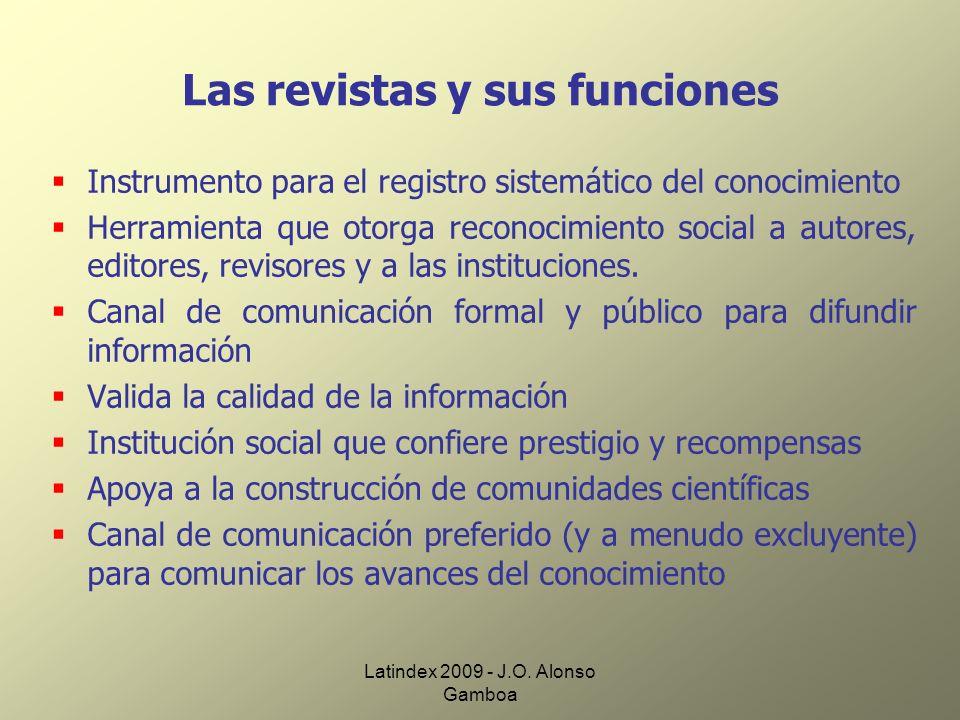 Latindex 2009 - J.O. Alonso Gamboa Las revistas y sus funciones Instrumento para el registro sistemático del conocimiento Herramienta que otorga recon