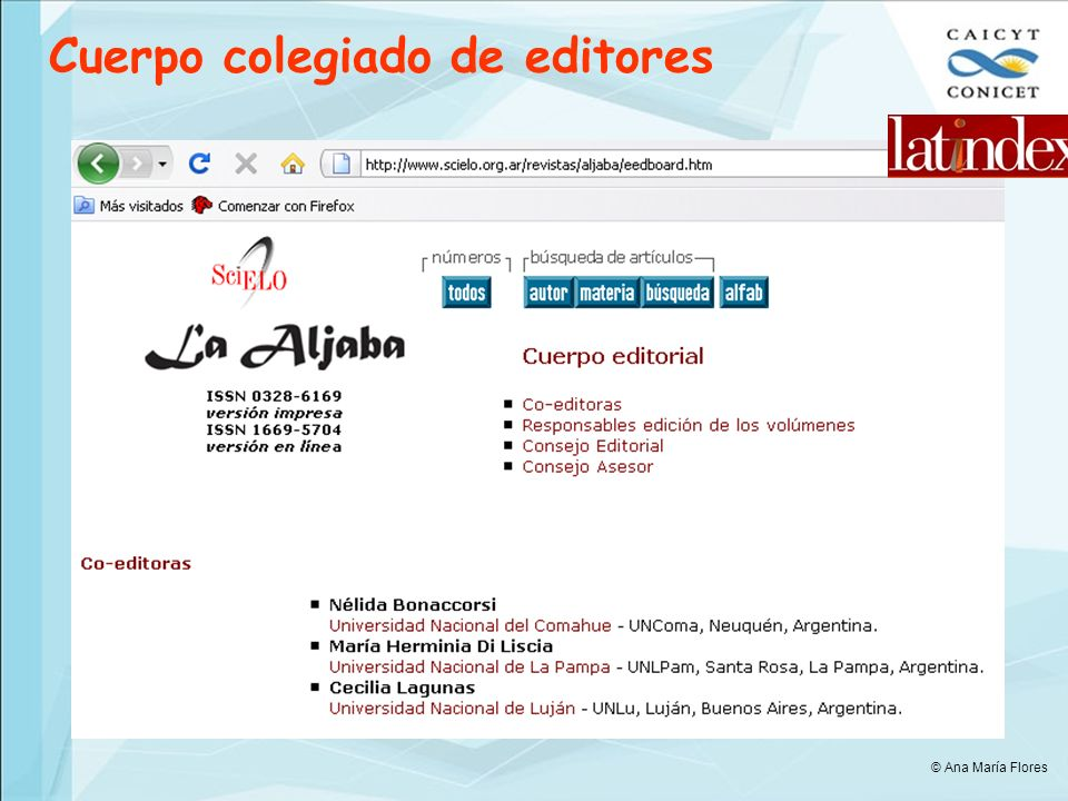 Cuerpo colegiado de editores © Ana María Flores