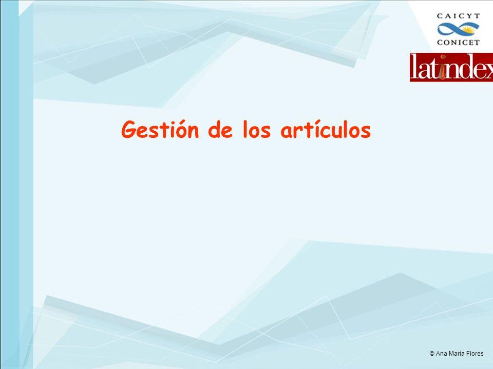 Gestión de los artículos © Ana María Flores
