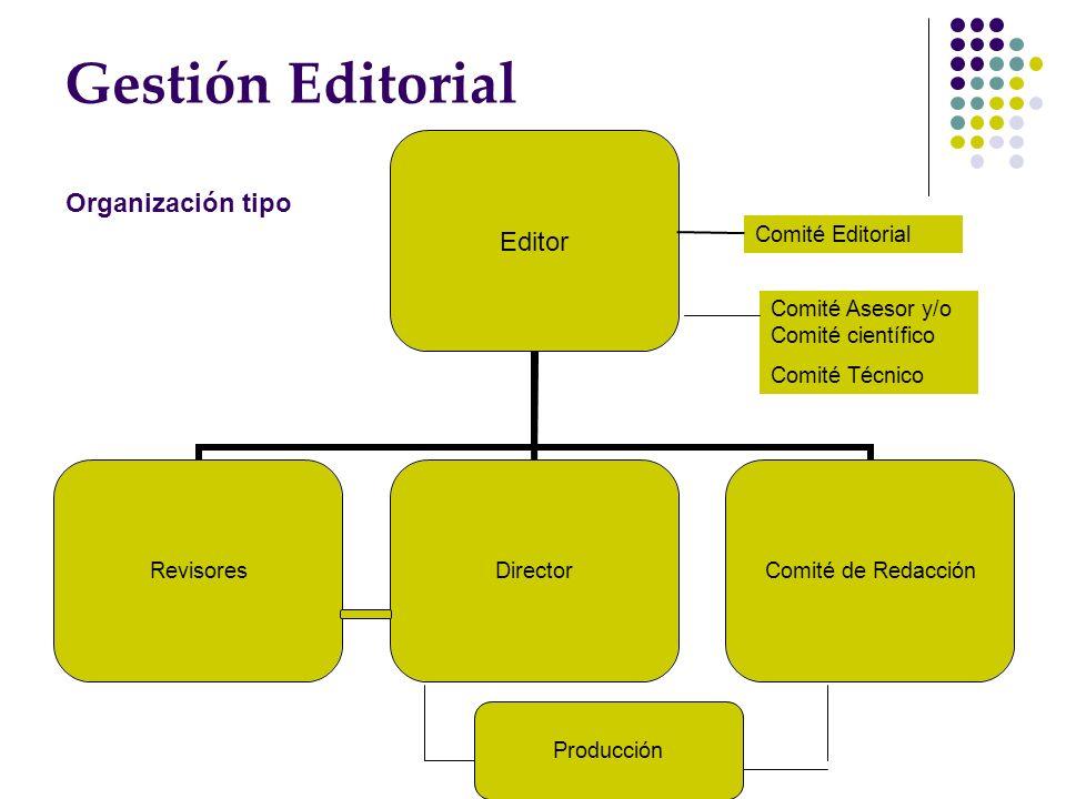 Gestión Editorial Comité Editorial Comité Asesor y/o Comité científico Comité Técnico Producción Organización tipo