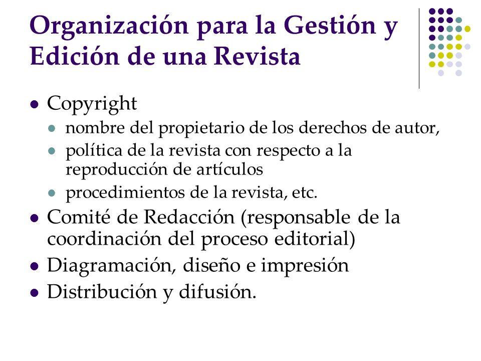 Copyright nombre del propietario de los derechos de autor, política de la revista con respecto a la reproducción de artículos procedimientos de la rev