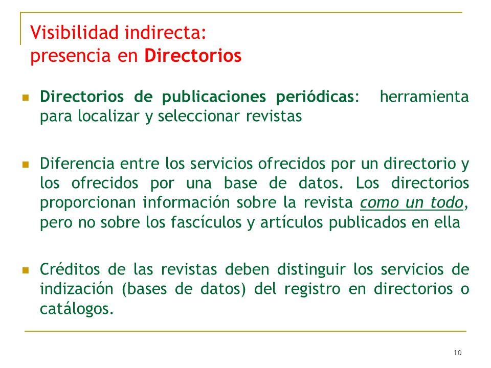 10 Visibilidad indirecta: presencia en Directorios Directorios de publicaciones periódicas: herramienta para localizar y seleccionar revistas Diferencia entre los servicios ofrecidos por un directorio y los ofrecidos por una base de datos.