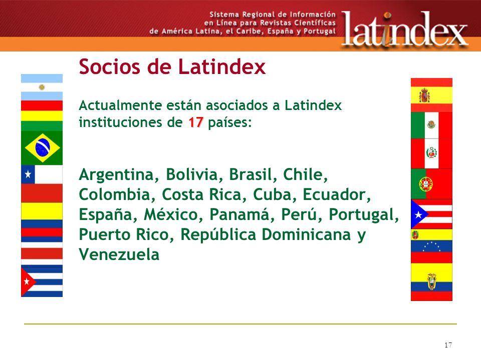 17 17 Socios de Latindex Actualmente están asociados a Latindex instituciones de 17 países: Argentina, Bolivia, Brasil, Chile, Colombia, Costa Rica, C