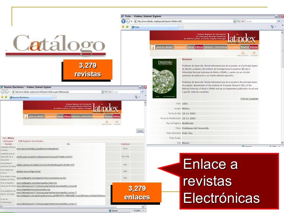21 Enlace a revistas Electrónicas 3,279 revistas 3,279 enlaces