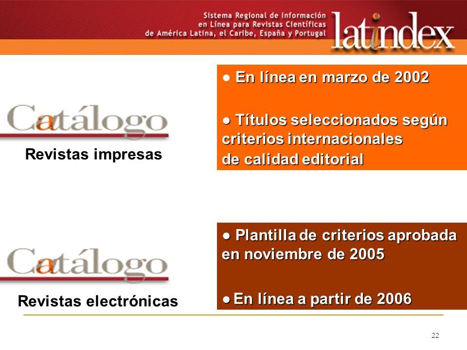 22 En línea en marzo de 2002 Títulos seleccionados según criterios internacionales Títulos seleccionados según criterios internacionales de calidad ed
