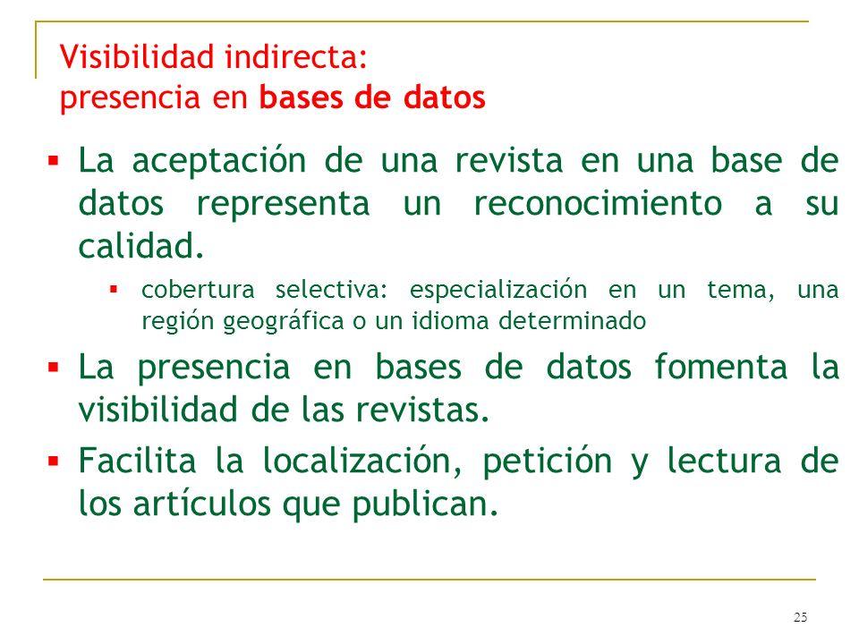 25 Visibilidad indirecta: presencia en bases de datos La aceptación de una revista en una base de datos representa un reconocimiento a su calidad. cob