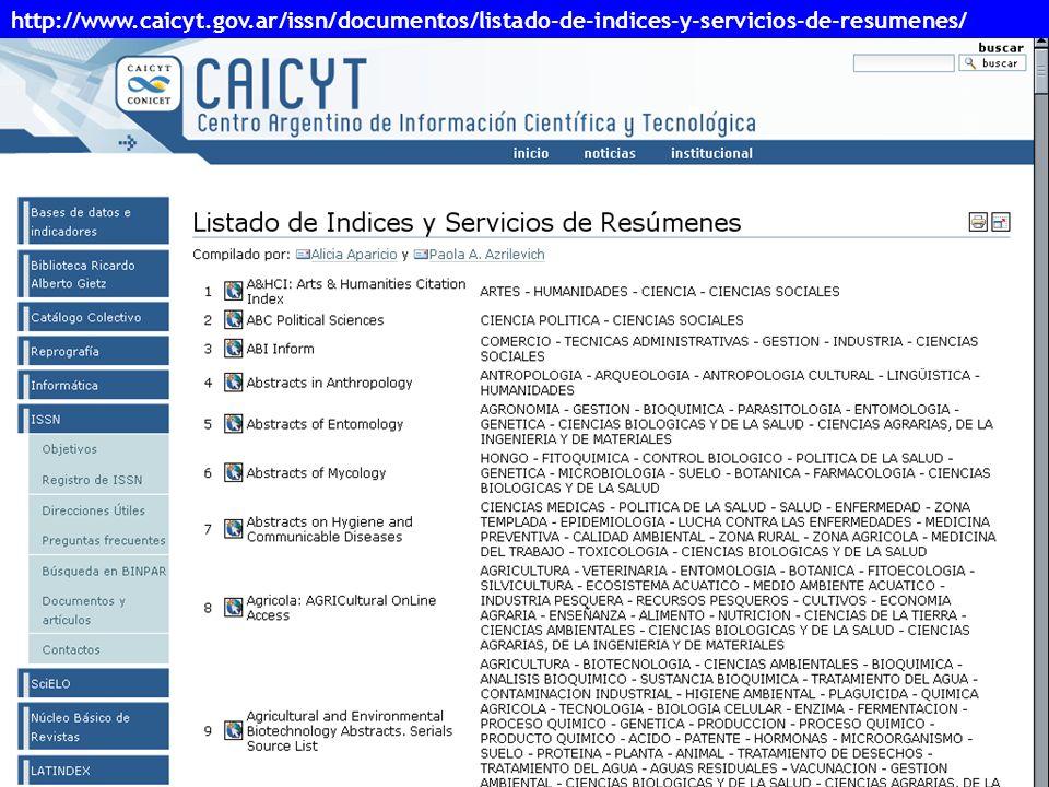 27 http://www.caicyt.gov.ar/issn/documentos/listado-de-indices-y-servicios-de-resumenes/