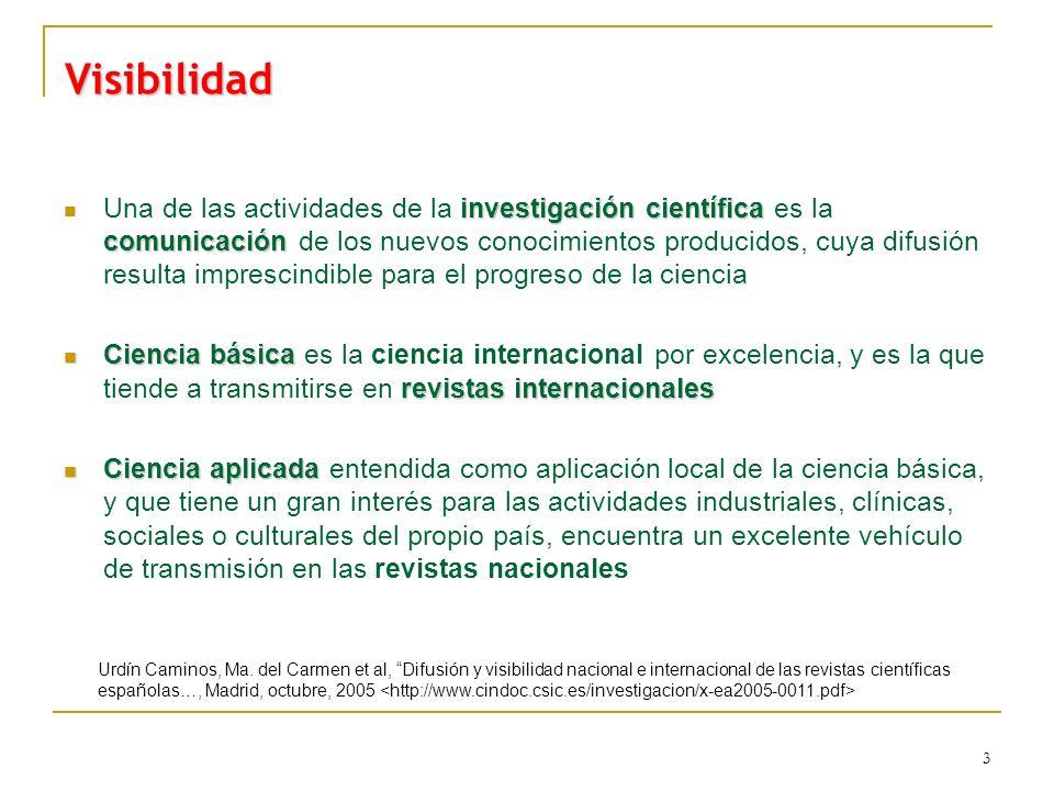 3 Visibilidad investigación científica comunicación Una de las actividades de la investigación científica es la comunicación de los nuevos conocimient