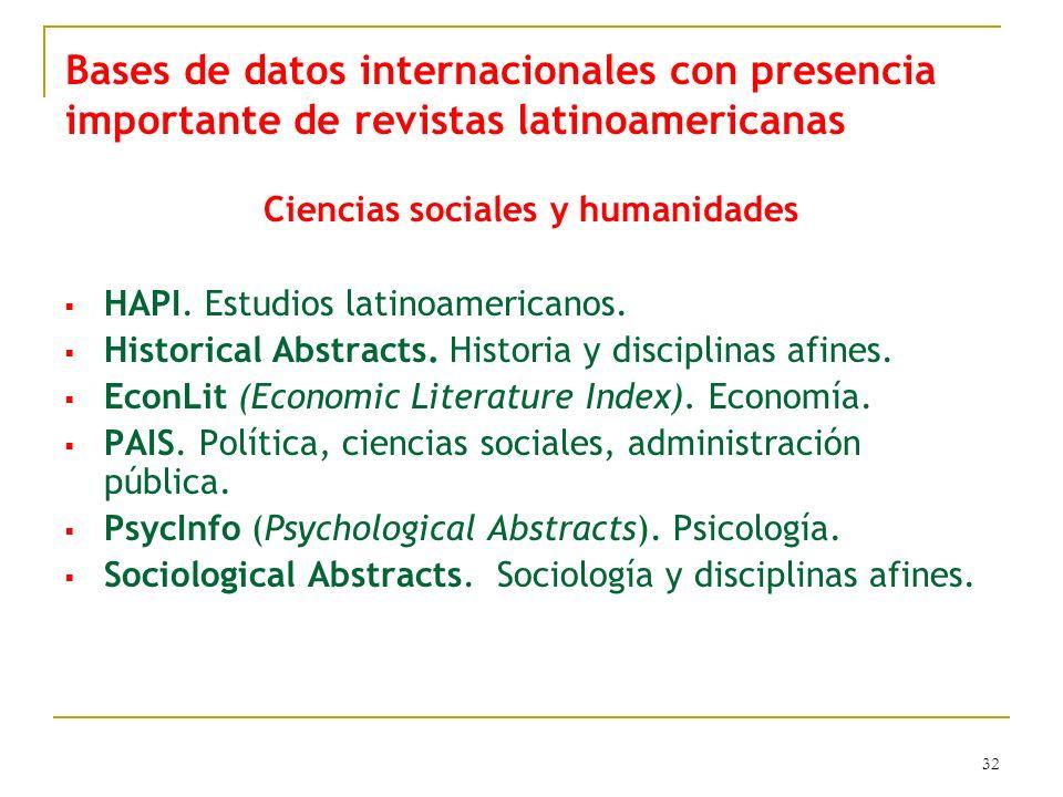 32 Ciencias sociales y humanidades HAPI. Estudios latinoamericanos. Historical Abstracts. Historia y disciplinas afines. EconLit (Economic Literature