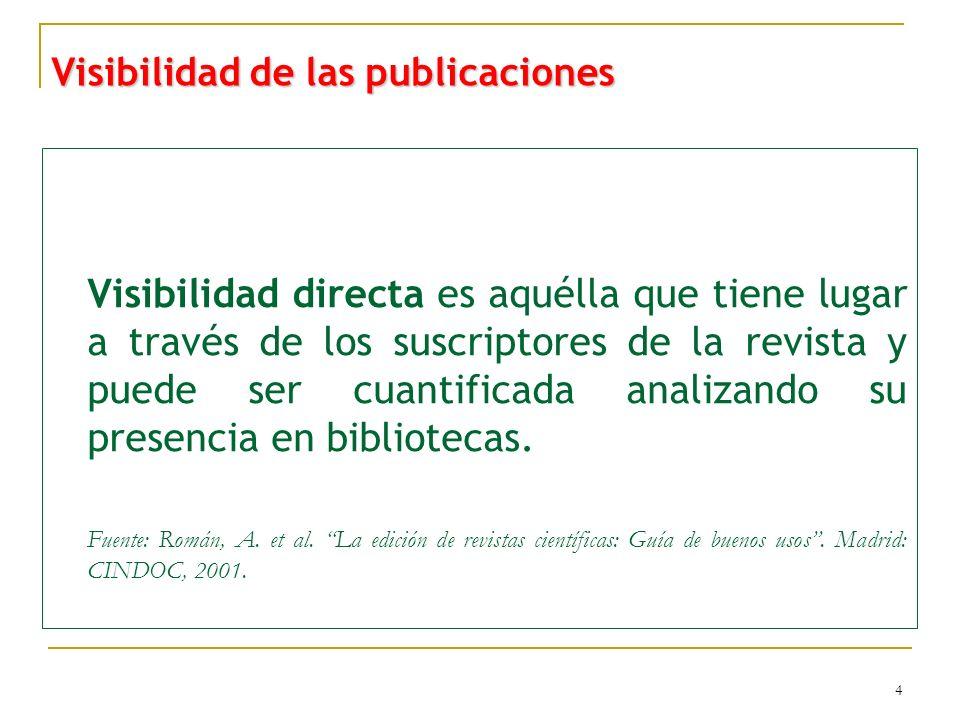 5 Visibilidad de las publicaciones Visibilidad indirecta es la que se deriva de la presencia de las revistas en fuentes secundarias de información tales como directorios, catálogos, bases de datos o sitios de acceso a textos completos.