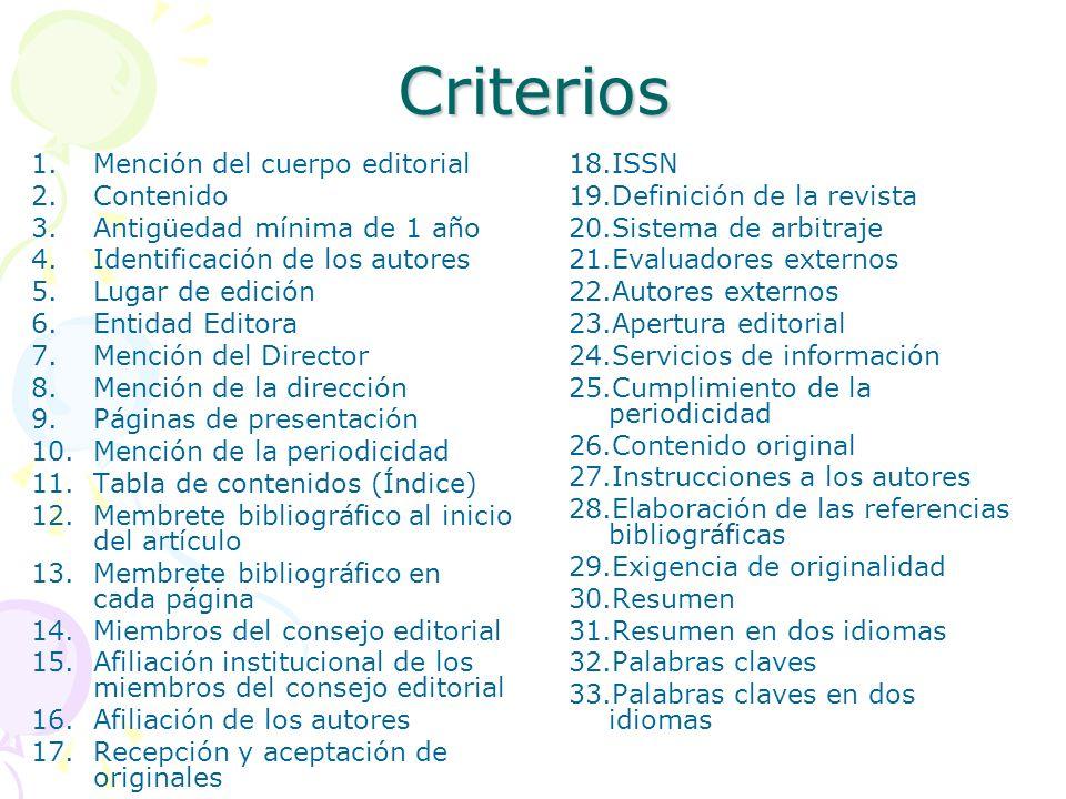 Criterios 1.Mención del cuerpo editorial 2.Contenido 3.Antigüedad mínima de 1 año 4.Identificación de los autores 5.Lugar de edición 6.Entidad Editora